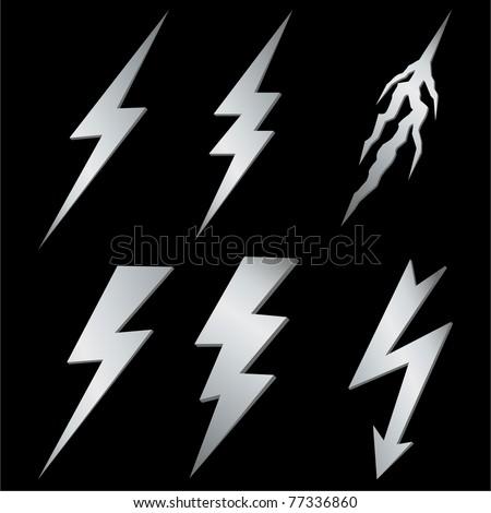 Silver Lightning set - stock photo