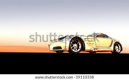 Silver luxury dream sports car / sportscar at sunset / sunrise with copy space - stock photo