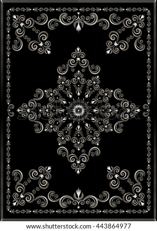 Silver luxury frame with vintage  ornament on black background  - stock photo