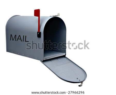 Silver mail box isolated on white background - stock photo