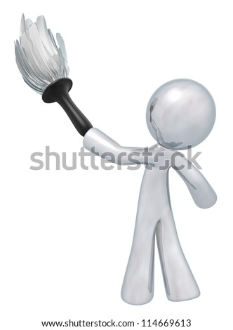 Silver man holding a duster, denotes quality cleaning services, general maintenance, and so forth. Always at top quality. - stock photo