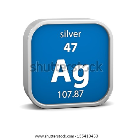 Silver material on the periodic table. Part of a series. - stock photo