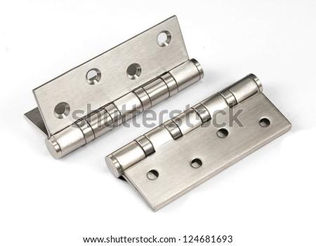 silver metal hinge - stock photo