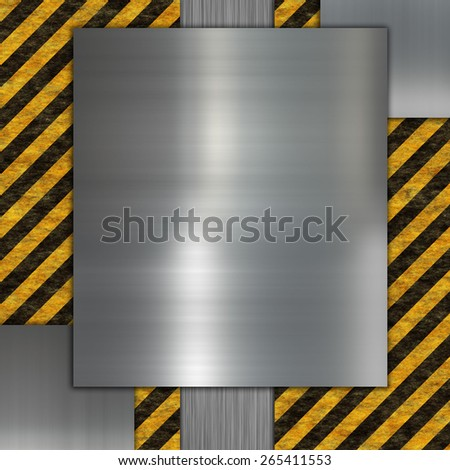 silver metal plate and warning stripes - stock photo