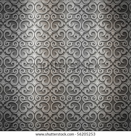 Silver metal plate with classic ornament (big collection) - stock photo
