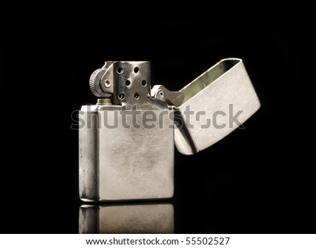 silver metal zippo lighter - stock photo