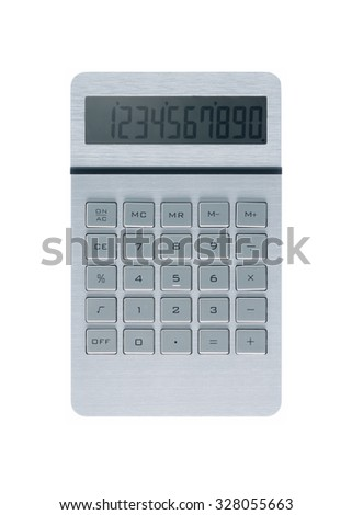 Silver metallic calculator on white background and numbers on display - stock photo