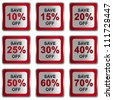 Silver Metallic Square Discount Sticker With Red Metallic Border For Save 10 - 70 Percent OFF Discount Campaign Isolated on White Background - stock photo