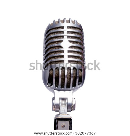 Silver microphone in front on a white background. Isolated - stock photo