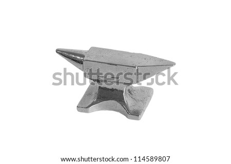 Silver miniature anvil on a white background. Model, isolated - stock photo