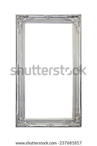 Silver mirror frame isolated included clipping path  - stock photo