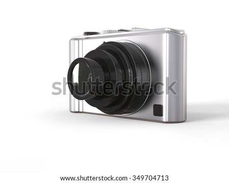Silver modern compact digital photo camera with black lens - stock photo