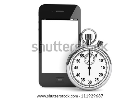 Silver modern Stopwatch with Mobile Phone on a white background - stock photo