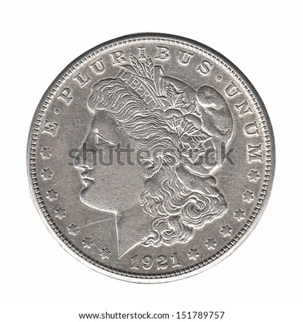 Silver Morgan dollar isolated on white - stock photo