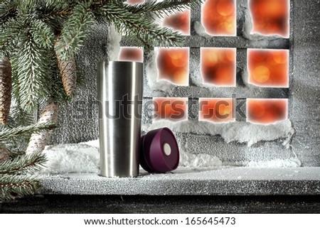 silver mug and sill  - stock photo