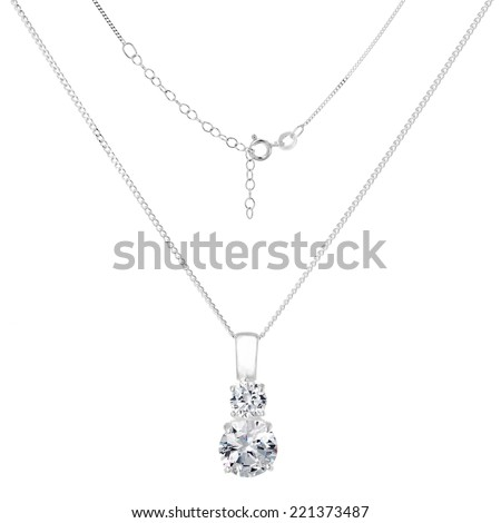 Silver necklace and pendant on white background - stock photo