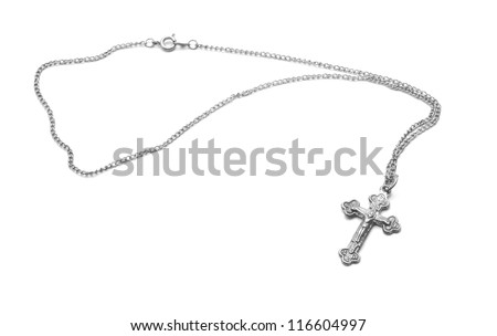 silver necklace with cross - stock photo
