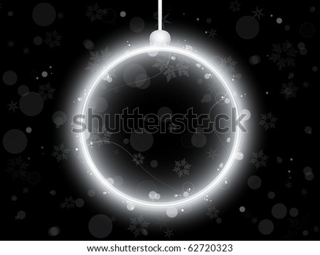 Silver Neon Christmas Ball on Black Background - stock photo