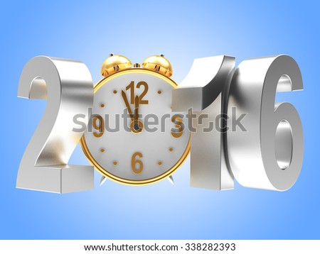 Silver New Year 2016 and clock on blue background  - stock photo