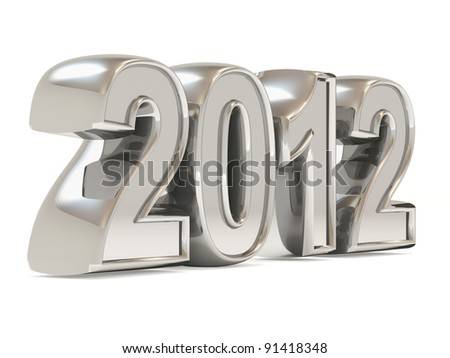 Silver New Year 2012 on white background - stock photo