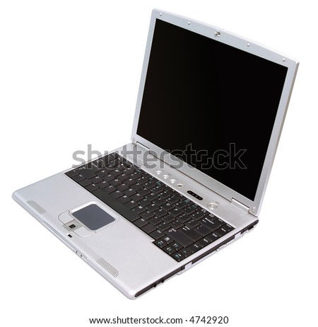 Silver notebook with black keybord isolated on white - stock photo