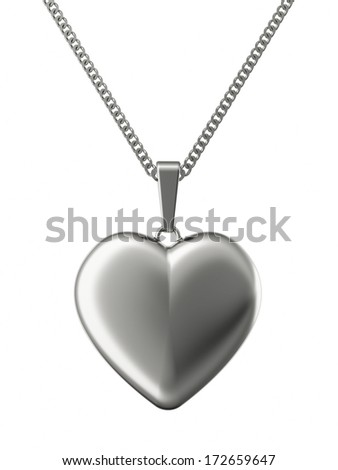 Silver pendant in shape of heart on chain isolated on white. High resolution 3D image - stock photo