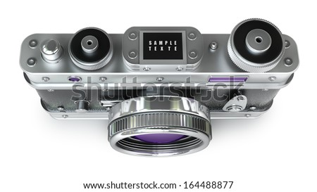 silver photo camera isolated on white background. Vintage. High resolution 3d  - stock photo