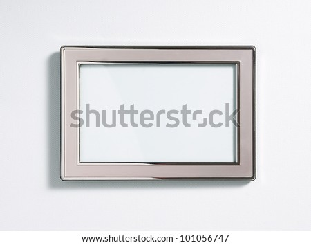 Silver picture frame, isolated on white - stock photo