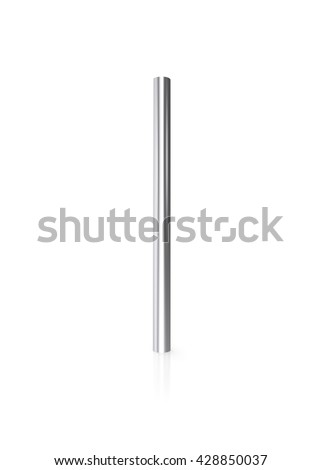 Silver pipes isolated on white background with reflect floor. 3d illustration - stock photo