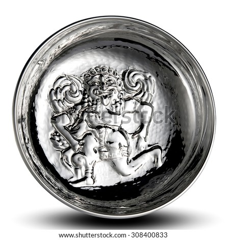 Silver plate with an embossed mythical figure or creature in raised decoration on the flat surface displayed upright over white - stock photo