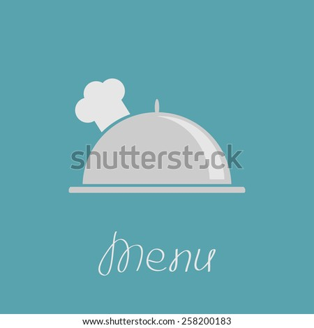 Silver platter cloche and chefs hat.  - stock photo