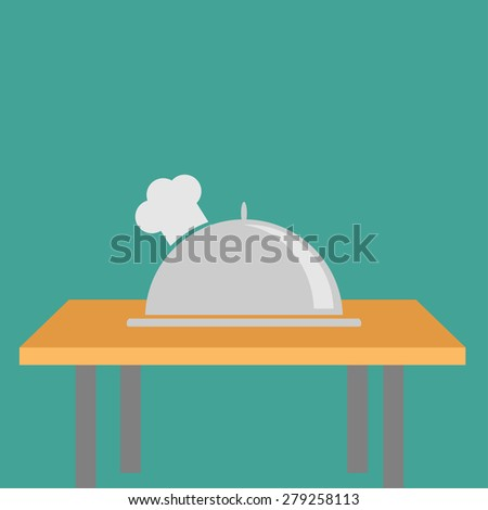 Silver platter cloche Chef hat on the table. Flat design - stock photo