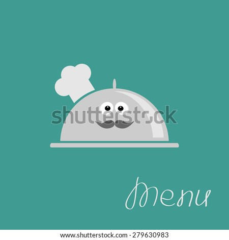 Silver platter cloche Chef hat with eyes and mustache. Menu card Flat design  - stock photo