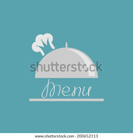 Silver platter cloche with chef  hat crown. Menu cover.  - stock photo