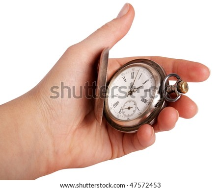 Silver pocket watch in hand isolated on white - stock photo
