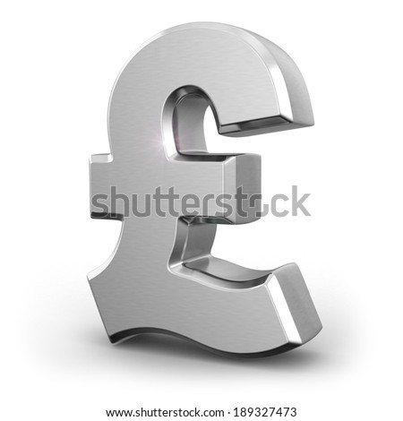 Silver pound currency sign on white isolated background. 3d - stock photo