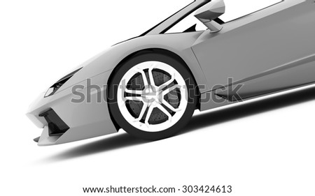 Silver race car detail rendered on white background - stock photo