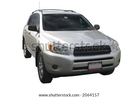 Silver RAV isolated over white - stock photo