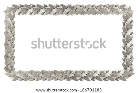 Silver rectangular frame of Laurel branches - stock photo