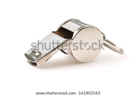 Silver referee whistle isolated on white - stock photo