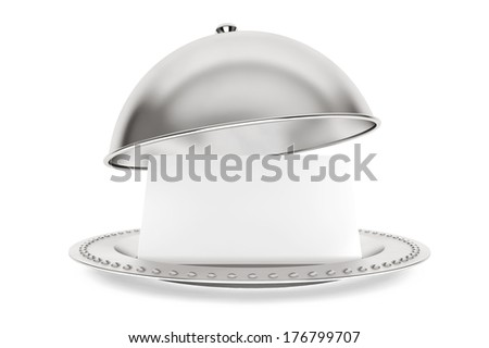 Silver Restaurant cloche with paper template on a white background - stock photo
