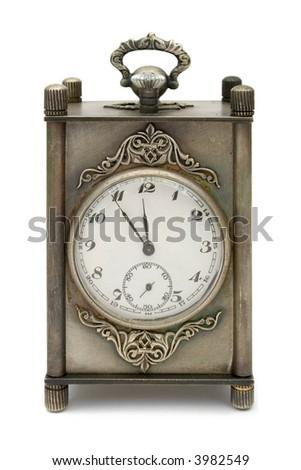 Silver retro-styled clock, isolated on white background - stock photo