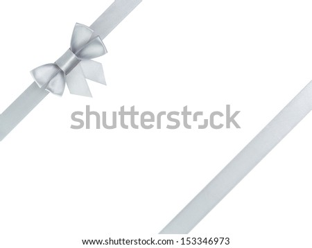 silver ribbon bow composition, isolated on white - stock photo