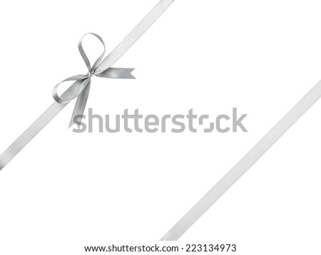 silver ribbon with bow for packaging, isolated on white - stock photo