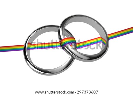 silver rings with rainbow ribbon - stock photo