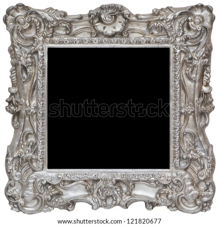 Silver rustic photo frame - stock photo