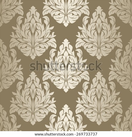 Silver seamless damask floral Wallpaper. Raster version. - stock photo