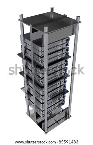 Silver Servers Rack - Hosting illustration. Modern Servers on the Rack - stock photo