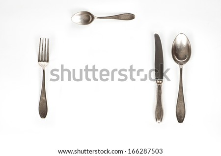 silver set with Fork, Knife and Spoon isolated  - stock photo