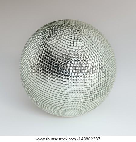 Silver Shining Disco Ball On White Background - stock photo